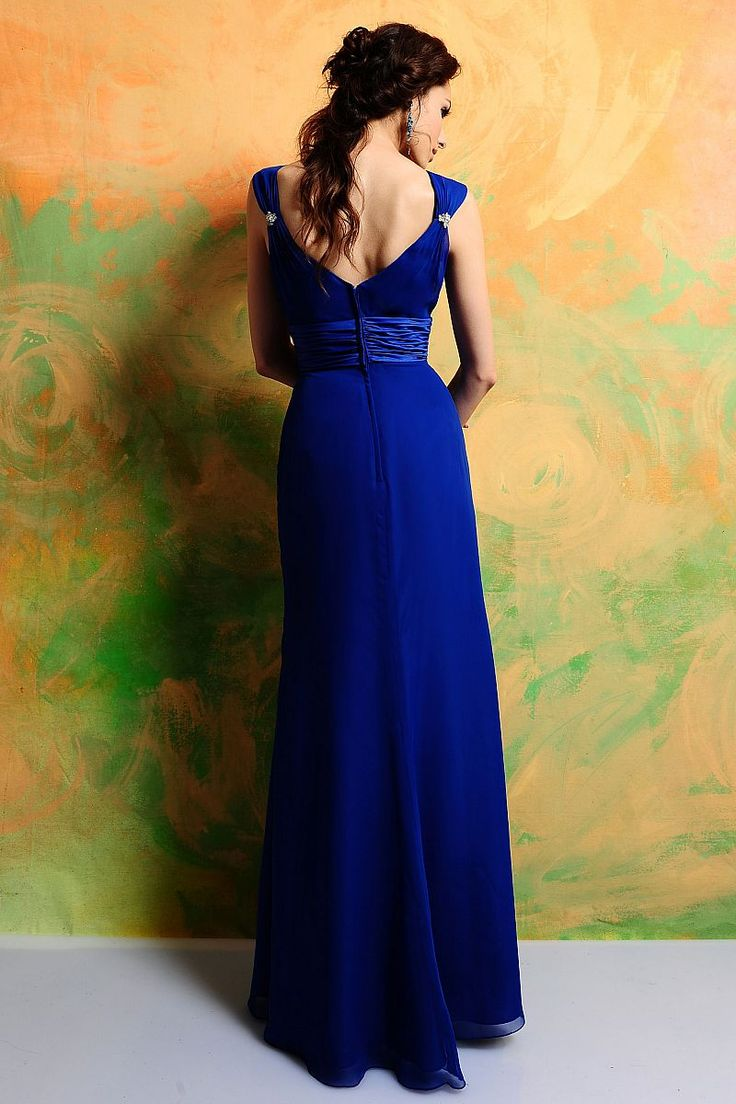 124 best bridesmaids images on pinterest bridesmaids venus and sleeveless royal blue natural waist column ruched v neck chiffon brooch long bridesmaid dress ombrellifo Images