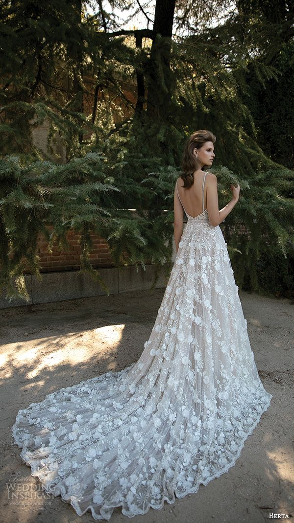 berta fall 2016 bridal romantic pretty a  line ball gown wedding dress spagetti strap sweetheart neckline floral appliques back