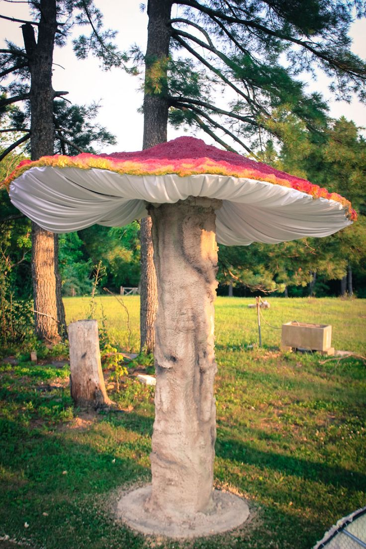 I originally built these Giant Mushrooms for my annual Halloween walk-through but they also serve as wonderful decor pieces at music festivals, weddings and a variety of special events. They range in a variety of sizes from 5ft to 10ft tall. They are made of wood, chicken wire, electrical conduit, 2 part spray foam, spandex and l.e.d. lighting.