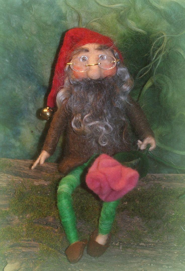 Hubert, needle felted Gnome
