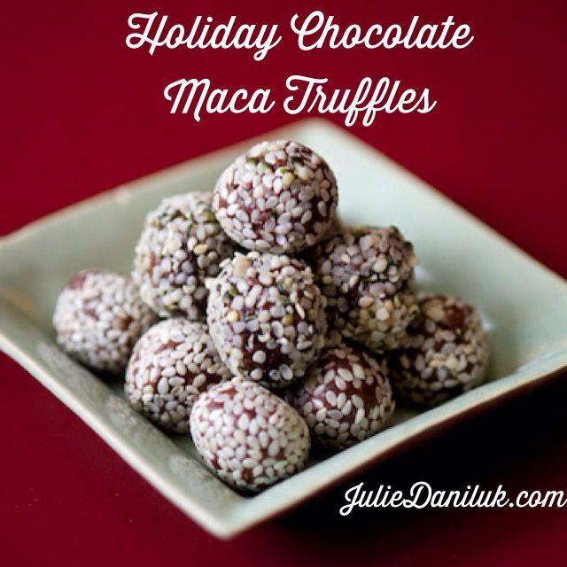Holiday Chocolate Maca Truffles by Julie Daniluk. Recipe here: https://juliedaniluk.com/recipes/holiday-chocolate-cranberry-maca-truffles.html