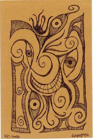 196/365: Big smile, marker on paper, A5.