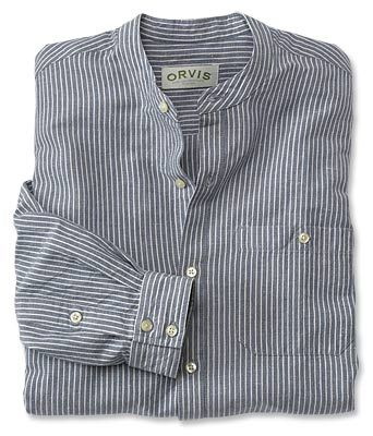 Cool Linen/Cotton Banded-Collar Shirt