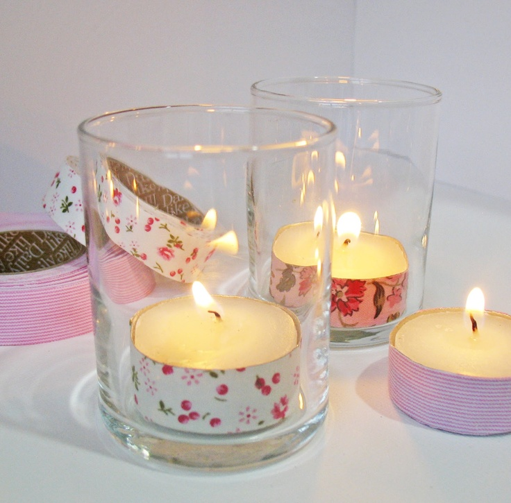 Washi tape wrapped tea lights