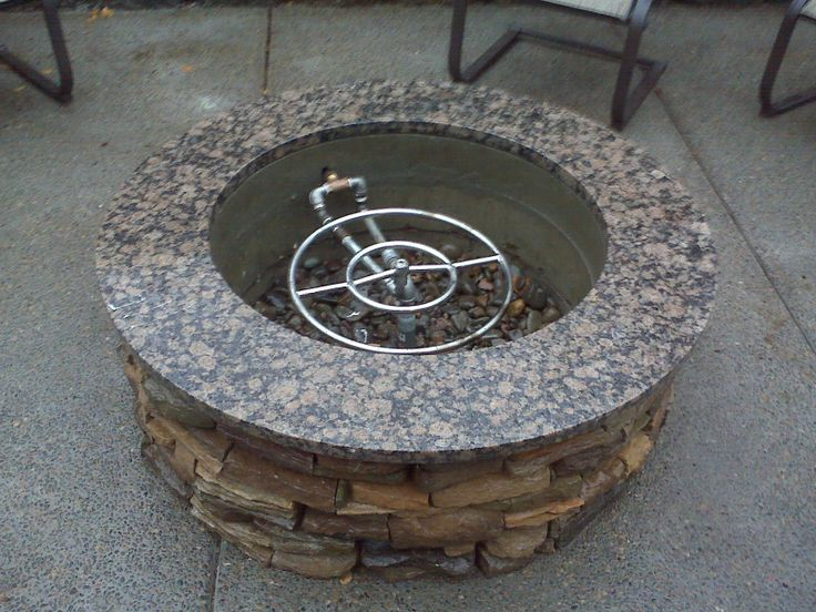 Fire Pit With Stone Veneer, And Granite Top. Natural Gas Fire Ring Inside