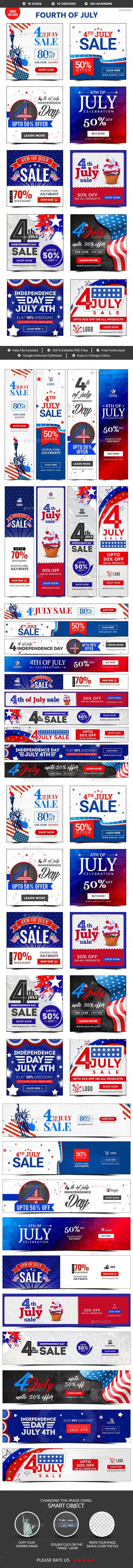 Fouth of July Sale Banners Bundle  10 Sets  180 Banners — Photoshop PSD #flat design #adroll • Available here → https://graphicriver.net/item/fouth-of-july-sale-banners-bundle-10-sets-180-banners/20236568?ref=pxcr