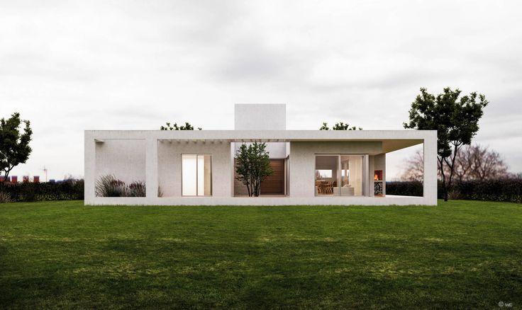 Vista fachada norte: Casas de estilo Minimalista por 1.61 Arquitectos