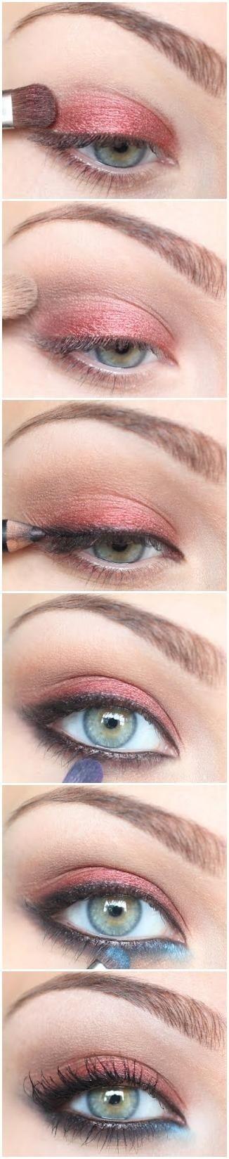 eyeshadow saumon, marron et noir! :p
