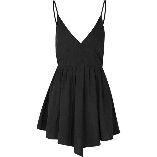 Black Caged Back Cami Dress (£24) ❤ liked on Polyvore featuring dresses, vestidos, short dresses, black, glamorous dresses, deep v neck cocktail dress, strappy dress and cami dress