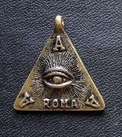The Trespico medallion of the Santissima Trinidad - Avetillo, Avetemit, Avelator - or Aram, Ardam, Adradam - ROMA is the initial of the title and name of God which means Rex Omnipotentem Macmamitam Adonay.