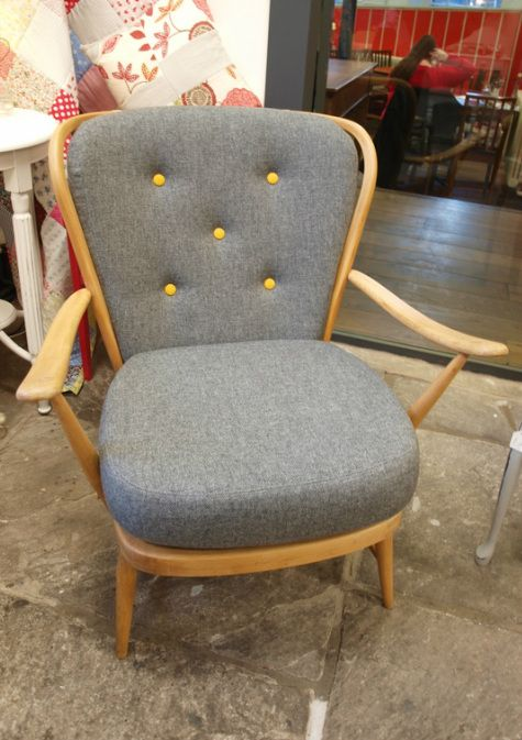 Yellow grey colour combo for ercol sofa