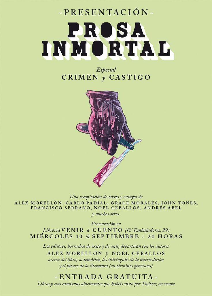 Presentación de @prosainmortal 2 con ayuda de @Alexmorellon y @NoelBurgundy 10 septiembre a las 20h https://www.veniracuento.com/