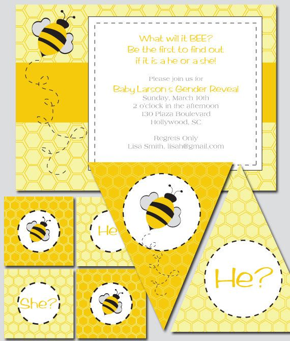 Bee Shower Theme Invitation and Decoration Printable by thinkRSVP, $30.00