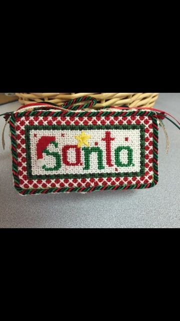 Adorable Santa ornament stitched by Cindy
