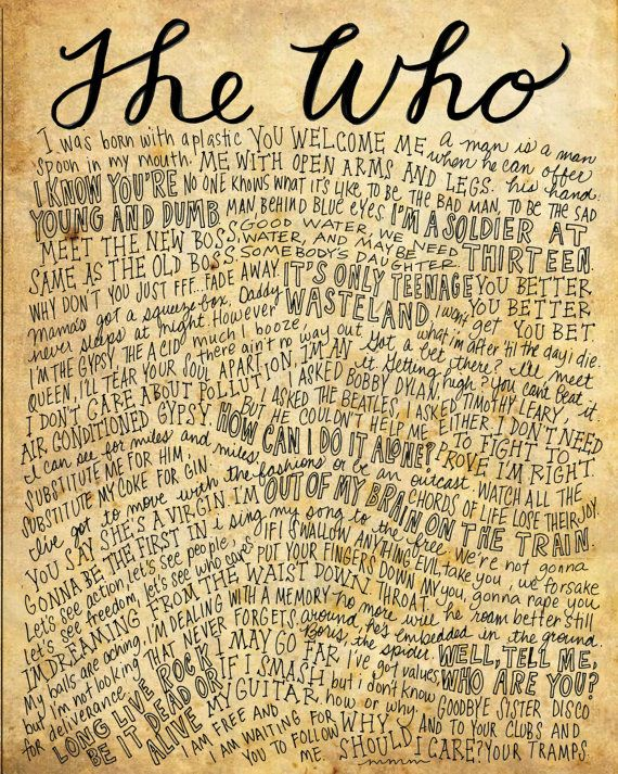 The Who Lyrics and Quotes - 8x10 handdrawn and handlettered print on antiqued paper rock music lyrics