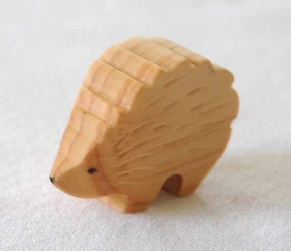 Carved Wooden HEDGEHOG Porcupine Handmade Toy by jupiterschild, $7.00
