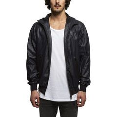 Hooded Soft Leather Jacket in Navy