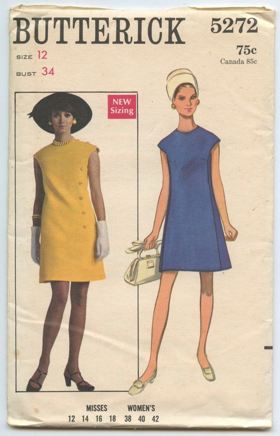 1960's Butterick 5272 A Line Dress with Jewel Neckline and