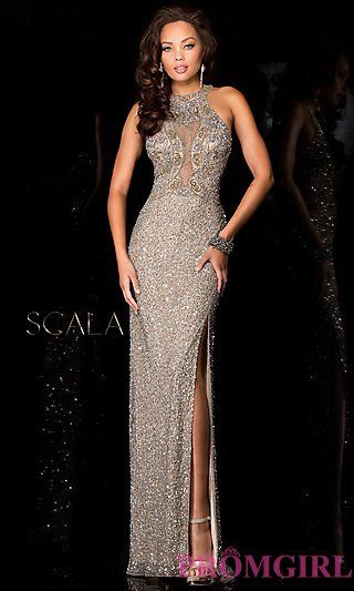 Long High Neck Sequin Formal Dress by Scala at PromGirl.com