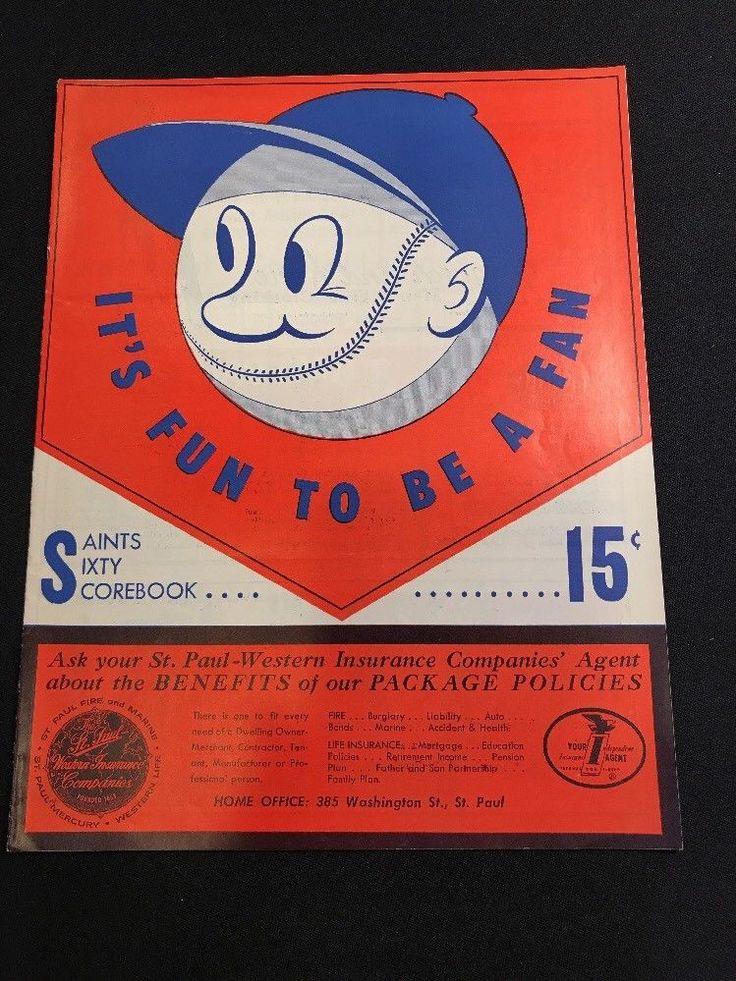 1960 St Paul Saints vs Indianapolis Indians Minor League Baseball Program | eBay