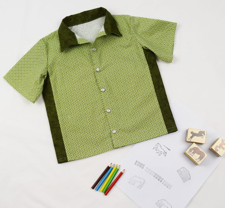 Boys green retro inspired button up shirt