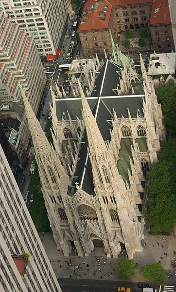 St. Patrick's Cathedral in New York. An excellent example of Neo-Gothic design. This photograph from the skyscrapers surrounding it shows the form of the cross that all cathedrals exhibit - as seen from the perspective of heaven.