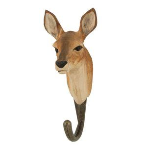 Deco Hook Roe Deer handcarved clotheshanger from Wildlife Garden http://www.wildlifegarden.co.uk/hand-carved/decohook-clothes-hangers/decohook-roe-deer.html