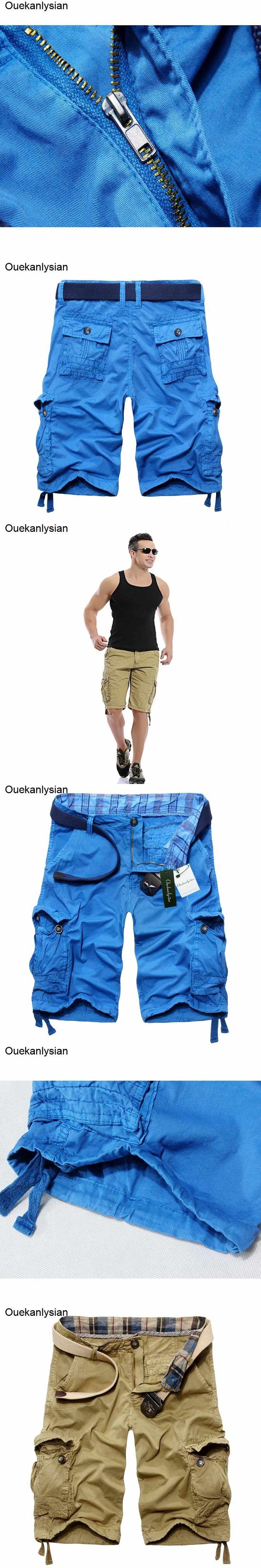 Ouekanlysian Military Homme Men Shorts Cotton Cargo Mid Waist Overalls Jogger Basquetball Army Beach Shorts Bermuda Masculina