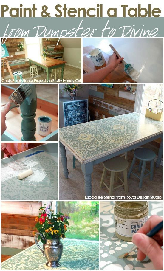 Chalk Paint® and Royal Design Studio Lisboa Tile furniture stencils transform a dumpster table! Link has how-to info and where to get the beautiful stencils and chalk paint