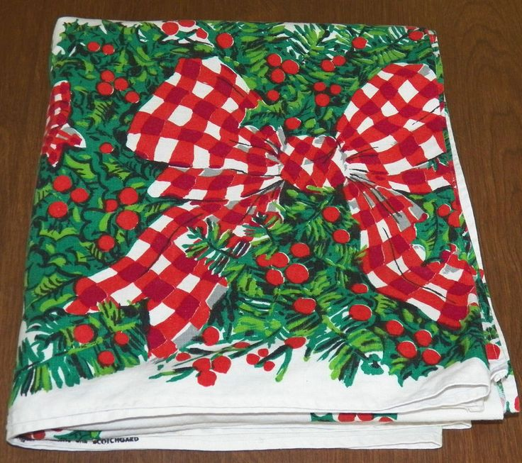 "Vintage Christmas Holiday Tablecloth 52"" by 96"" Red Plaid Bows Holly Extra Long"