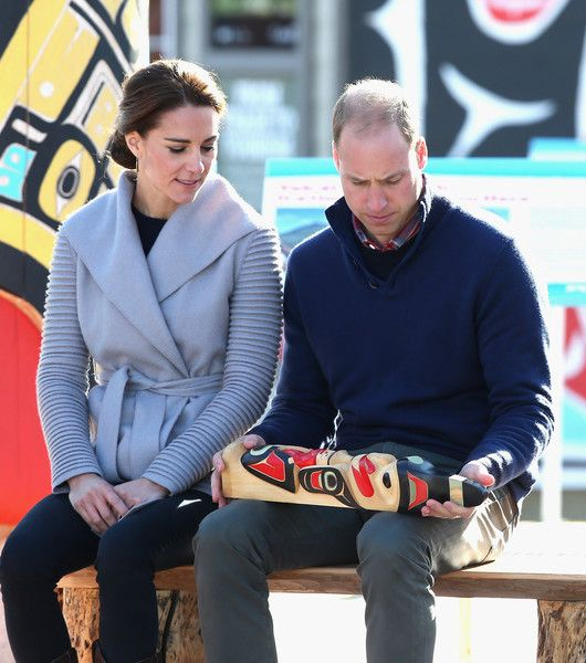 Catherine, Duchess of Cambridge and Prince William, Duke of Cambridge are presented with a small totem pole as they watch a cultural welcome in Carcross during the Royal Tour of Canada on September 28, 2016 in Carcross, Canada.