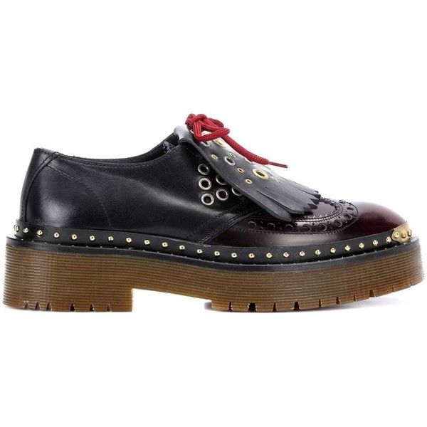 Burberry Leather Platform Brogues (13.847.440 IDR) ❤ liked on Polyvore featuring shoes, oxfords, brogue oxford, brown brogue shoes, platform shoes, platform oxfords and brogue shoes