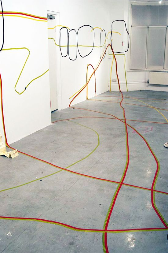 By Angela Rogers, Drawing with Electrical Insulation Tape
