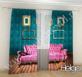 3536 руб ($55) Картинка фотошторы розовый диван арт.тфа2708 (145х275-2шт) фотошторы Хельга