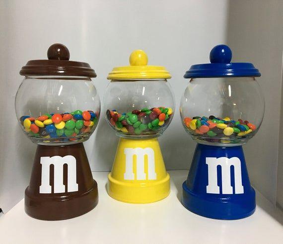 M M Candy Jar Clay Pot Candy Jar Clay Pot Crafts Candy Jars Diy Terra Cotta Pot Crafts