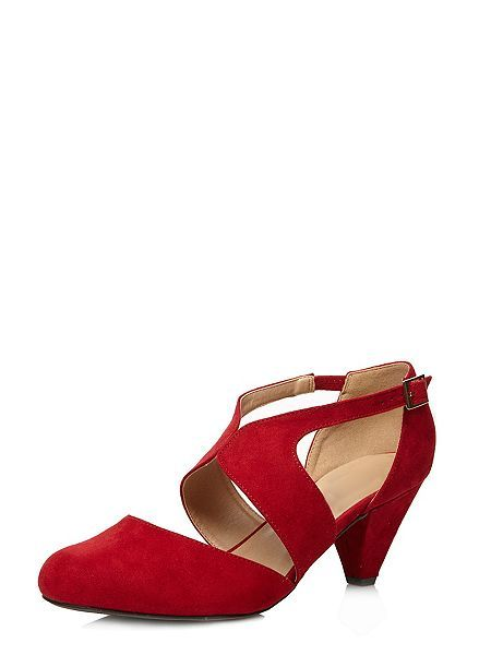 Extra Wide Fit Red Suedette Cut Out Heel
