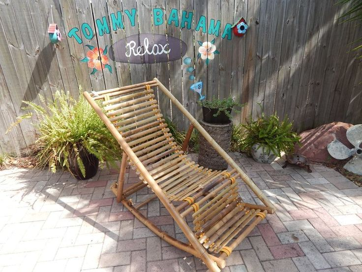 Rocker Natural Bamboo Recliner Chair Tropical Patio Eco Friendly Sun NEW India…