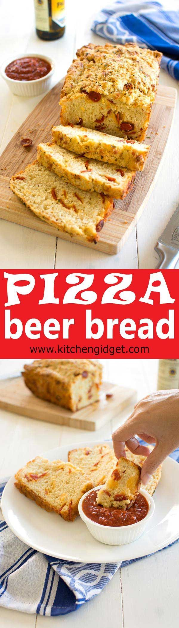 How To Make Easy Pizza Beer Bread With Cheese And Pepperoni Pizza Beer Bread Recipe