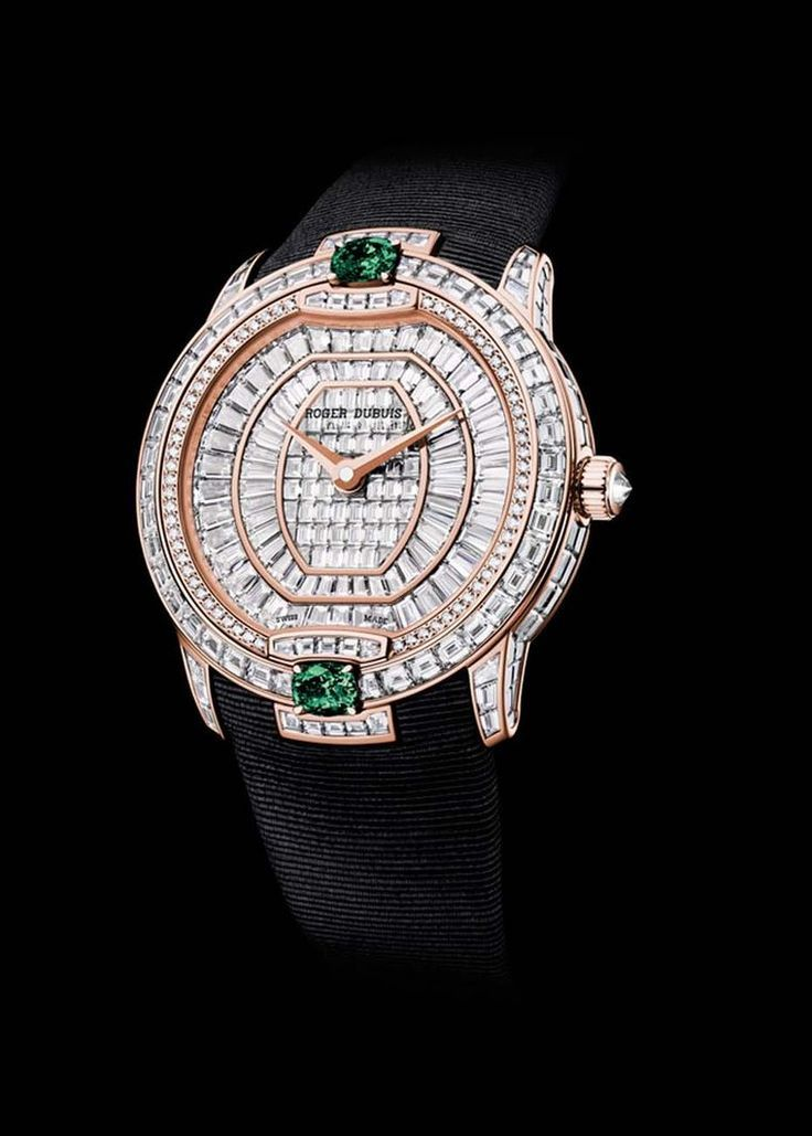 Roger Dubuis Velvet Haute Joaillerie watch in pink gold with 367 baguette and brilliant-cut diamonds and two striking emeralds. (=) - where to buy mens jewelry, cool mens jewelry, mens fashion jewelry