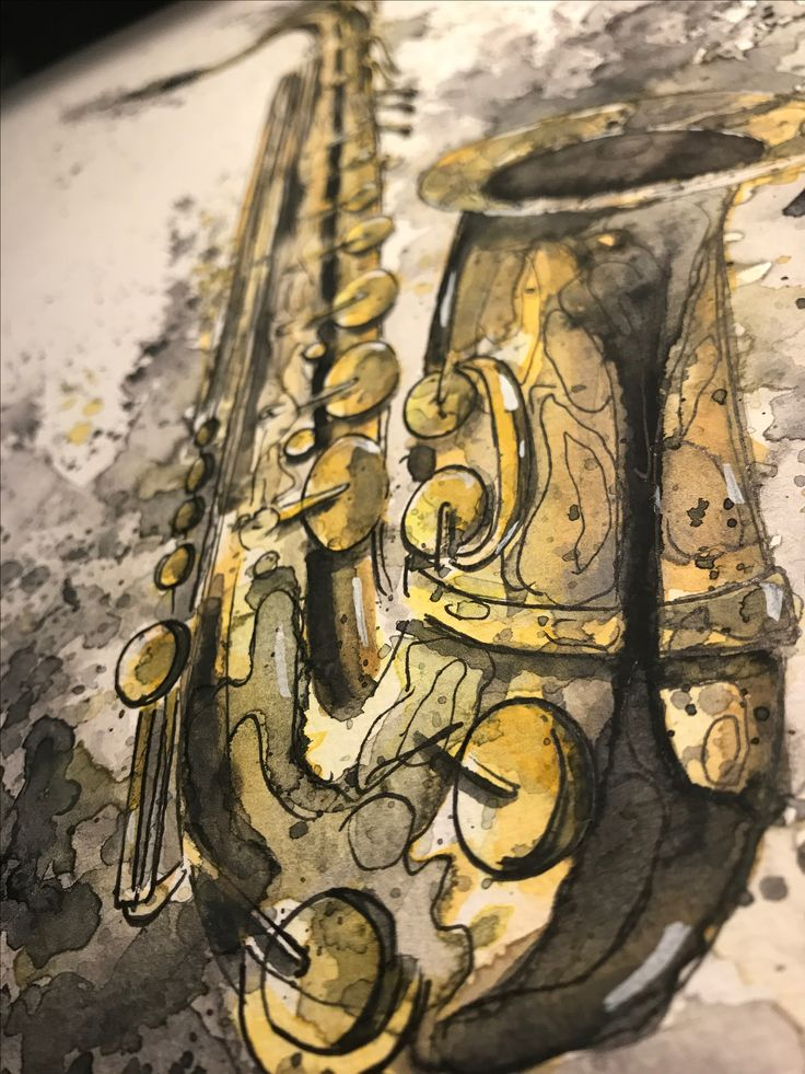 Saxophone, Aquarell, Sketch, A3, Zeichnung, Art, Kunst, Japan, Free, Artist, Music, Jazz, New Orleans