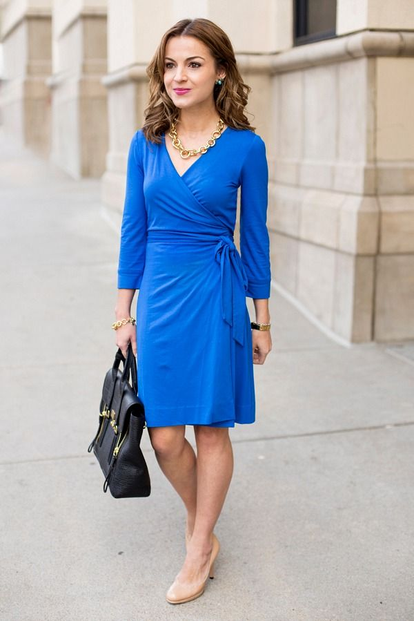 Wrap dress plus nude heels--perfect for petite women!