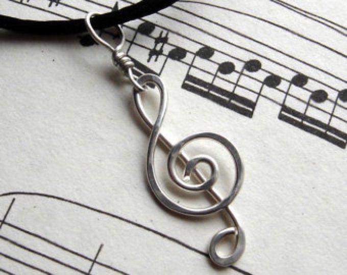 Solsleutel ketting hanger, G-Clef musicus Gift, muziek sieraden, muziek opmerking, Sterling Zilver draad, als muziek leraar cadeau