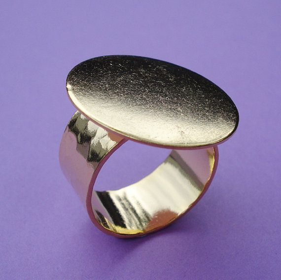 14kt Gold Plated Brass Adjustable Ring 10mm Hammered Band with