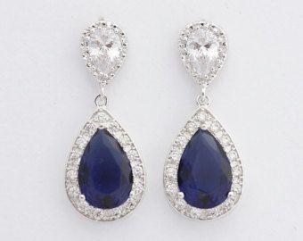 Blaue Hochzeit Ohrringe Bridal Jewelry Blue Drop von poetryjewelry