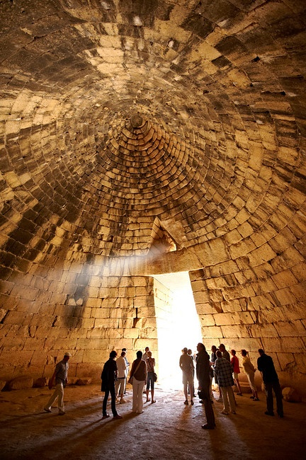 """Interior of the Treasury of Atreus is an impressive """"tholos"""" beehive shaped tomb on the Panagitsa Hill at Mycenae. Mycenae UNESCO World Heritage Archaeological Site, Peloponnese, Greece"""