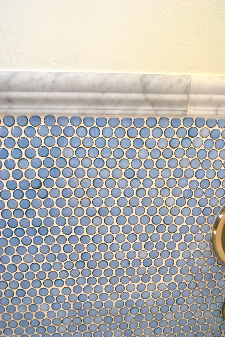 blue penny tile in a marble border-would love this in my bathroom with a white claw foot tub