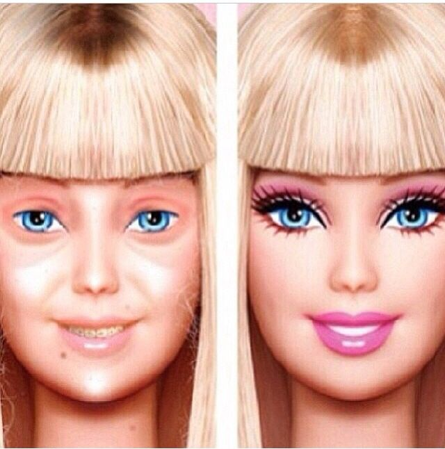 Barbies Wedding Hair And Makeup : Barbie without makeup on Face Canvas Emporium ...