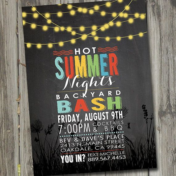 Hot Summer Nights Party Invitation, Printable, Summer Party Invitation, Backyard BBQ Invitation, Summer Party Invites