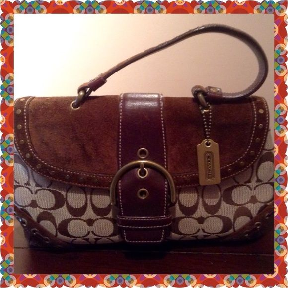 """Great Coach Satchel 15% Off Now Thru Sun This is an adorable Coach bag in nice used condition. Beautiful suede accents showing slight wear. Check out pics. A little wear on handle as shown in pic # 3. Measures 12""""long, 5"""" wide, and 6"""" high. Has snaps on side to allow for expansion of body. Check out cute bow detail on back. Offer $38 now thru Sunday and I will accept  Coach Bags Satchels"""