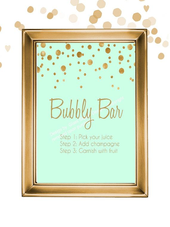 Printable mint and gold bubbly bar sign/ champagne bridal shower sign/ champagne brunch sign/ mimosa bar/ champagne bar sign